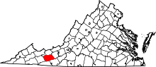Map of Virginia highlighting Wythe County