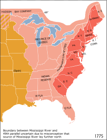 Eastern North America in 1775. The British Province of Quebec, the thirteen colonies on the Atlantic coast and the Indian reserve as defined by the Royal Proclamation of 1763. The 1763 Proclamation line is the border between the red and the pink areas, while the orange area represents the Spanish claim.