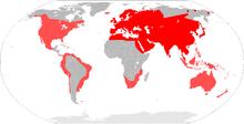 Rojo oscuro: autóctono. Rojo claro: introducido.