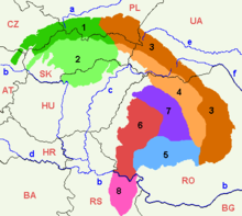 Map indicating the main divisions of the Carpathian Mountains