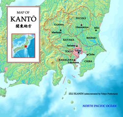 Closeup map showing the areas within the Kantō region of Japan