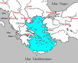 Localización del mar Egeo