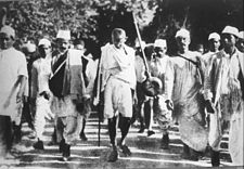 Gandhi during the Salt March, 1930