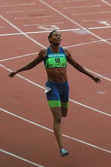 Photographie de Marion Jones à l'arrivée d'une course