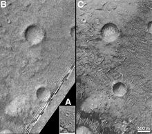 Three images of Airy-0 taken by, from A to C, Mariner 9, Viking 1 and Mars Global Surveyor.
