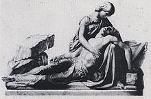 Pieta néo-classique d'une femme tenant sur ses genoux le corps d'un homme.