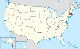 Carte des tats-Unis avec le Massachusetts en rouge.