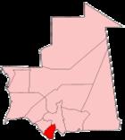 Map of Mauritania showing Guidimaka
