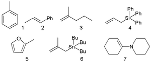 Nucleophiles used in the determination of Mayr-Patz equation, X = tetrafluoroborate anion