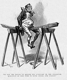 "A political cartoon. An imperially confident-looking man in an exaggerated military officer&squot;s uniform sits upon a plank of wood marked ""Financial question,"" which is balanced between two saw-horses. The man&squot;s weight is bending the wood rather dramatically."