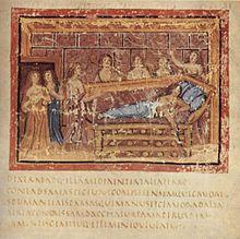 La mort de Didon, illustration d'un manuscrit de l'Énéide (v.400)