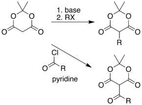 Reaction of the acidic methylene of Meldrum's acid with various electrophiles gives alkyl and acyl products