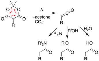 Reaction of the pyrolysis-product ketene with amines, hydroxyl compounds, or water gives amides, esters, or carboxylic acids respectively