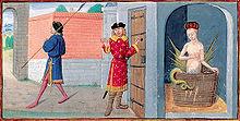 Sur la peinture, trois êtres se trouvent dans ce qui semble un château: un garde à la gauche, un noble au milieu et une femme prenant son bain dans une pièce fermée. La femme possède des ailes et une queue de serpent.