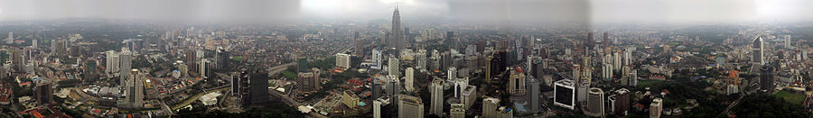 Panorama of city with mixture of five- to ten-story buildings