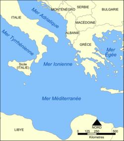 Carte de la mer Ionienne.