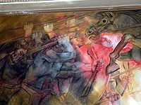 Mural alusivo a la Conquista de Yucatán, pintado por Fernando Castro Pacheco. Salón de la Historia del Palacio de Gobierno de Yucatán.