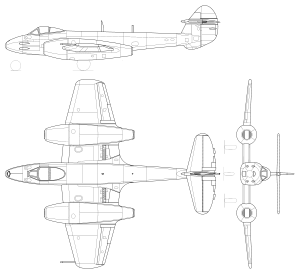 Orthographically projected diagram of the Meteor F.4.