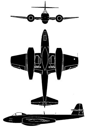 Orthographically projected diagram of the Meteor F.8.