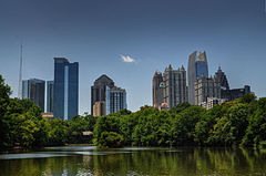 Piedmont Park's Lake Clara Meer with Midtown skyline in the background