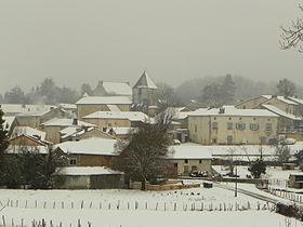 Le village de Milhac-de-Nontron sous la neige