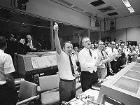 Mission Control celebrates the successful splashdown of Apollo 13