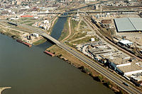 View of two rivers meeting in the middle of an industrial area