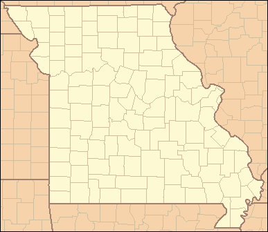 "Map of Missouri divided into 115 county-sized regions each labeled with two letters. For example, the northwest region is labeled ""AT""."