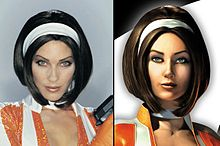An image of model and actress Mitzi Martin, dressed as Cate Archer, alongside a rendered picture of Archer.