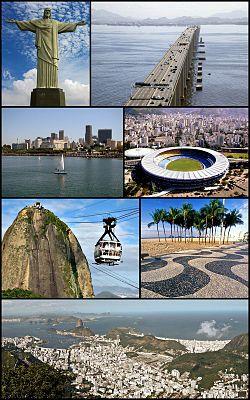 Do alto, da esquerda para a direita: Cristo Redentor, Ponte Rio-Niterói, Centro a partir da Baía de Guanabara, Estádio do Maracanã, Bondinho do Pão de Açúcar, calçada da Praia de Copacabana e visão geral da cidade a partir do Corcovado.