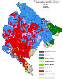 Etnische kaart van Montenegro, volgens de census van 2003.