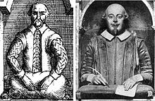 Effigy of Shakespeare with right hand holding a quill pen and left hand resting on paper on a tasselled cushion, compared with a drawing of the effigy which shows both hands empty and resting on a stuffed sack or pillow.