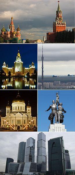 De haut en bas, de gauche à droite: la cathédrale Saint-Basile et la tour Spasskaïa du Kremlin, l'Université d'État de Moscou, la tour Ostankino, la cathédrale du Christ-Sauveur, l'Ouvrier et la Kolkhozienne, le Centre d'affaires international de Moscou.