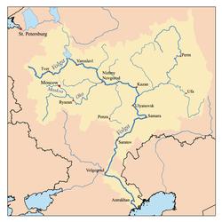 Localización del río Moscova en la cuenca del Oka
