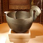 A stone bowl from the Moundville Site, depicting a crested wood duck