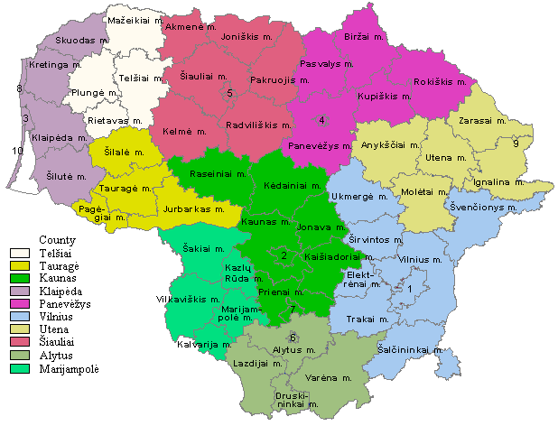 A map divided into ten sections all filled in with a different colour and further subdivided into subsections