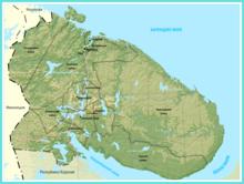Mapa físico de la región de Múrmansk