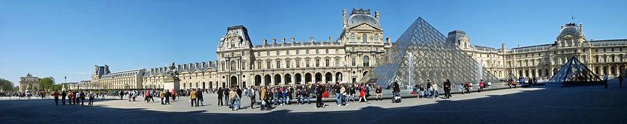 Vista panorómica del Museo de Louvre en 2007