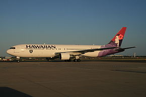 "A plane with a mostly white body and blue lettering readign ""Hawaiian"" toward the front with a Black emblem beneath it that has white lettering that says Raiders and has a picture of a man with a black eye patch, a football helmet and two crossed swords behind him. The tail of the plane is colored in various shades of purple with a picture of a woman with a flower in her hair"