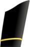 A narrow gold stripe on a blue sleeve.