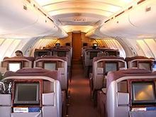 A forward-looking view in the stretched upper deck cabin of later 747s