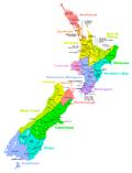 Carte des Autorités territoriales de Nouvelle-Zélande
