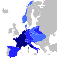 Map of Europe. French Empire shown as bigger than present day France as it included parts of present-day Netherlands and Italy.