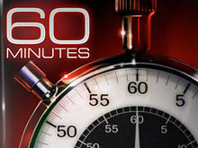 "The phrase ""60 MINUTES"" in Eurostile Extended typeface above a stopwatch showing a hand pointing to the number 60"