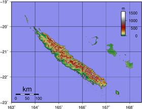 Carte de la Nouvelle-Calédonie avec Grande Terre (à gauche).