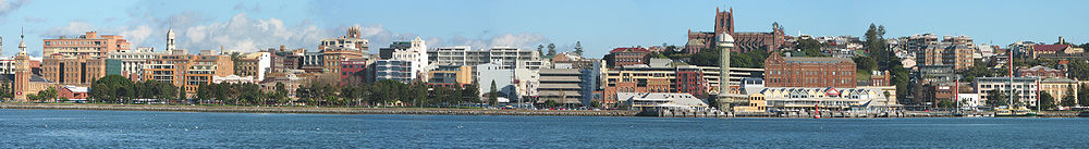panorama of Newcastle harbour foreshore and central business district from the Stockton ferry wharf carpark