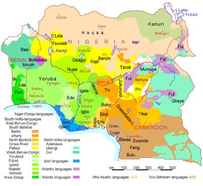 Nigeria Benin Cameroon languages.png