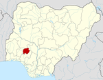 Map of Nigeria highlighting Ekiti State