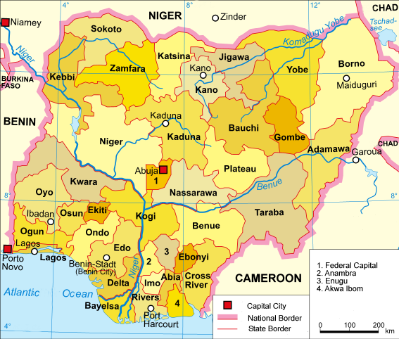 A clickable map of Nigeria exhibiting its 36 states and the federal capital territory.