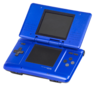 An open, electric blue original Nintendo DS system.